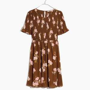Madewell Smocked-Top Dress in Retro Bouquet M